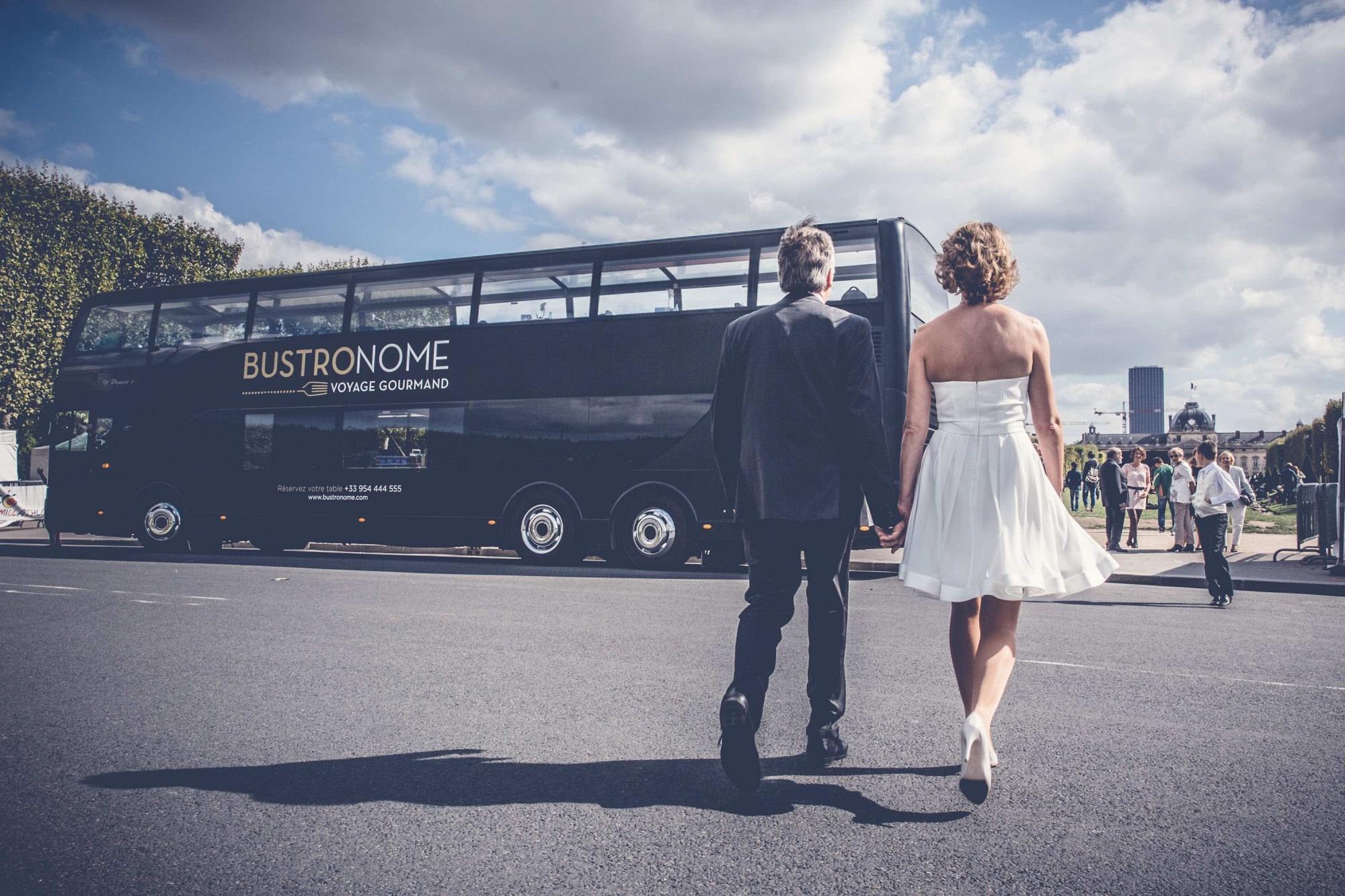 photo mariage à bord du Bustronome
