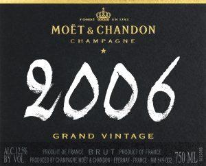 Moet & Chandon Grand Vintage etiquette bouteille 2006